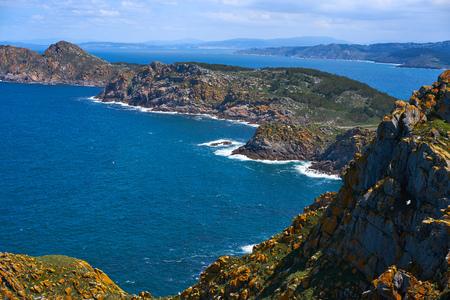 Islas Cies islands aerial in Vigo of Galicia at Spain