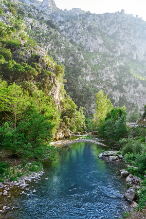 Deva river between mountains in Cantabria of Spain Stock Photo