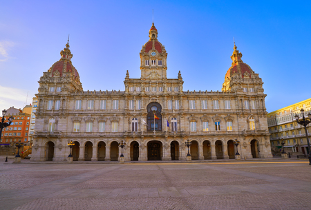 La Coruna City town hall in Maria Pita Square of Galicia Spain 免版税图像