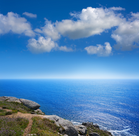 Aerial view of Finisterre end of Saint James Way in Galicia Spain Stock Photo