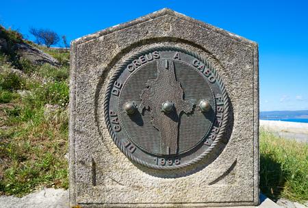 Finisterre to Cape Creus monument in Fisterra Galicia of Spain Stock Photo