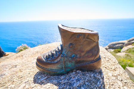 Boot sculpture at the end of Saint James Way in Finisterre Camino de Santiago Spain Stock Photo
