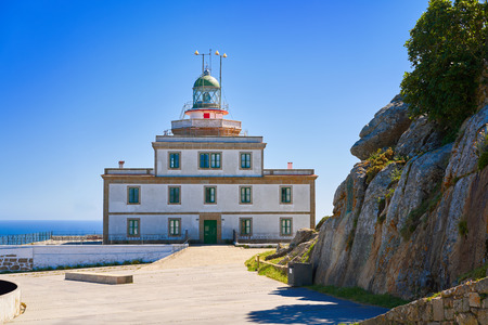 Finisterre lighthouse Fisterra at the end of Saint James way in Galicia Spain Stock Photo