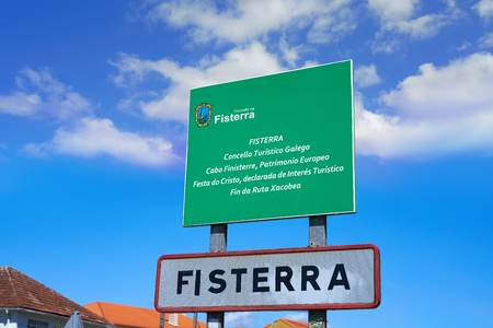 Fisterra or Finisterre road sign end of Camino de Santiago Way of Saint James Galicia Spain Stock Photo