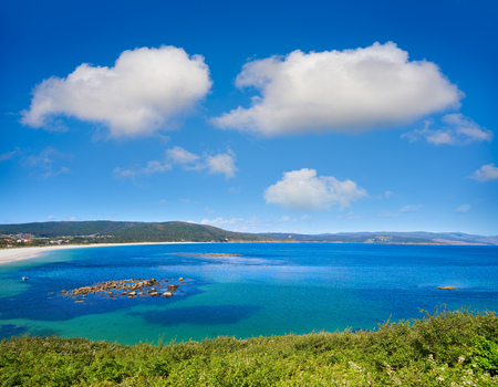 Aerial view of Finisterre langosteira beach in Galicia Spain