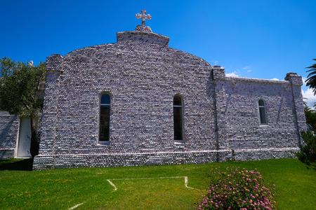 La toja island Toxa Chapel made of sea shells in Pontevedra Galicia Spain