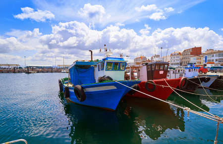O Grove Ogrove port with fishing boats of Arosa river in Pontevedra of Galicia Spain Stock Photo