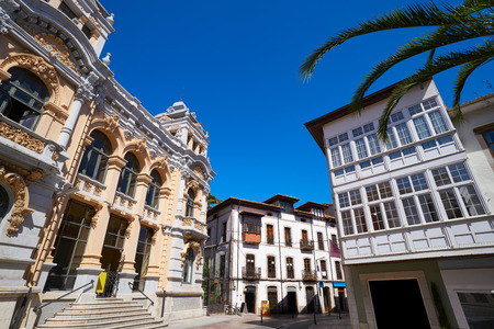 Llanes post office correos building in Asturias of Spain Stock Photo