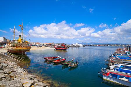 O Grove Ogrove port with fishing boats of Arosa river in Pontevedra of Galicia Spain Stock Photo