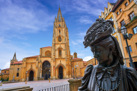 Oviedo Cathedral and Regenta statue in Asturias of Spain