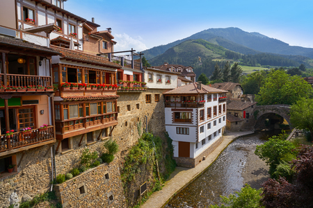 Potes river Quiviesa Deva a Cantabria village of Spain Stock Photo - 109674737