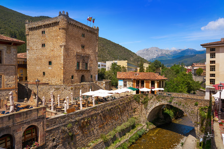 Potes river Quiviesa Deva a Cantabria village of Spain Stock Photo - 109673401