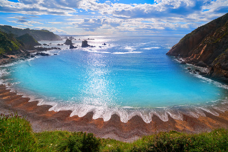 Playa del Silencio in Cudillero Asturias from Spain 版權商用圖片