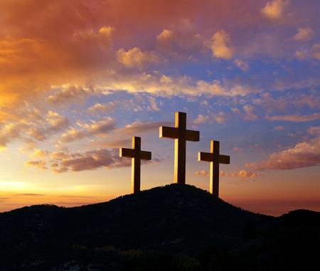 Crucifixion cross symbol of Golgotha in Christian religion photo mount Reklamní fotografie