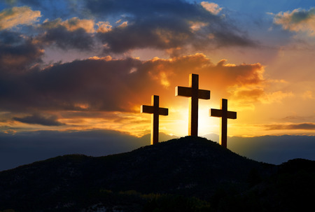 Crucifixion cross symbol of Golgotha in Christian religion photo mount Stock Photo