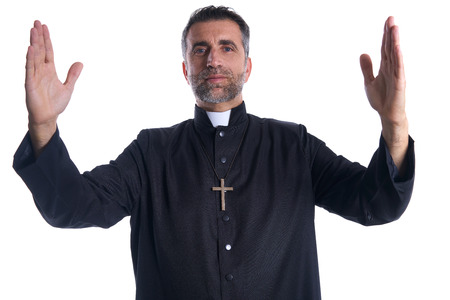 Priest open arms blessing praying God gesture isolated