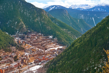 Arinsal village in Andorra Pyrenees sunny day