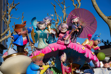 Las fallas fest figures of marche paper in Valencia of spain Banco de Imagens