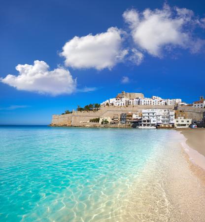 Peniscola skyline and castle beach in Castellon of Spain Stock fotó