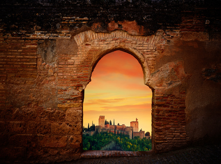 Alhambra sunset arch of Granada photo illustration