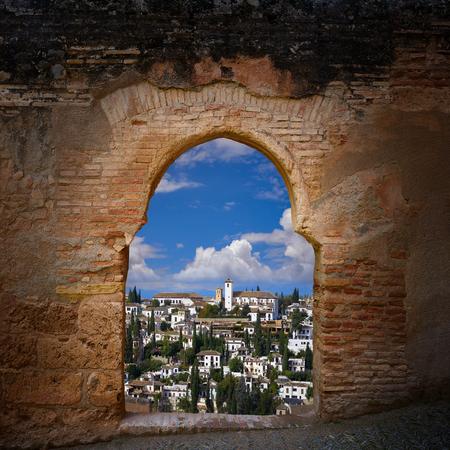 Alhambra arch and Albaicin of Granada photo illustration