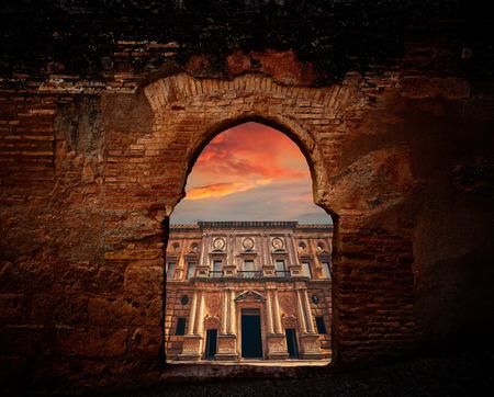 Alhambra arch Carlos V facade of Granada photo illustration Stock Photo