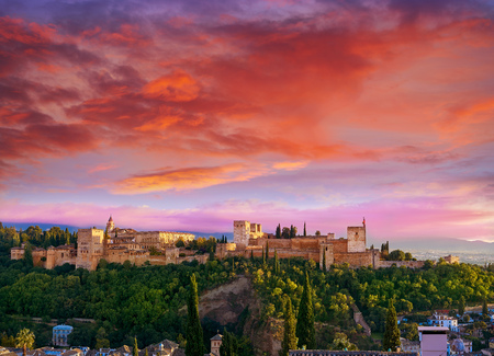 Alhambra sunset in Granada of Spain view from Albaicin