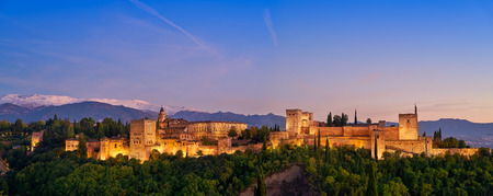 Alhambra fortress sunset in Granada of Spain at andalusian