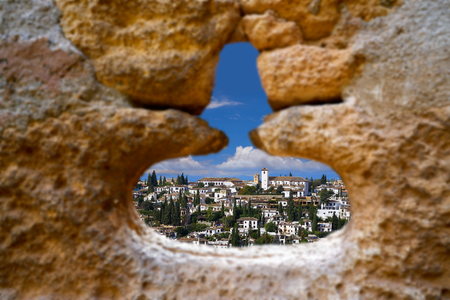 Alhambra window of Albaicin Granada photo illustration Stock Photo