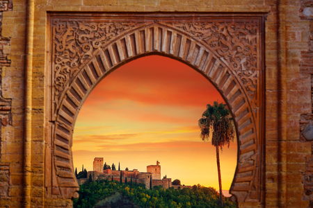 Alhambra arch Granada illustration with alhambra sunset photo mount