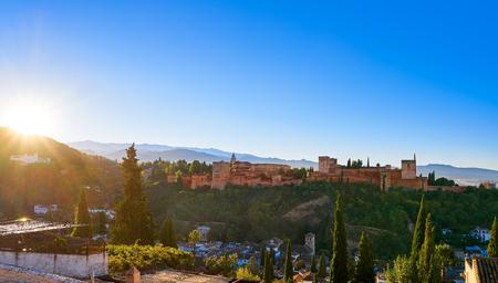 Alhambra sunrise light in Granada of Spain view from Albaicin