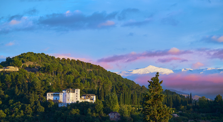 Generalife of Alahambra sunset in Granada of Spain view from Albaicin