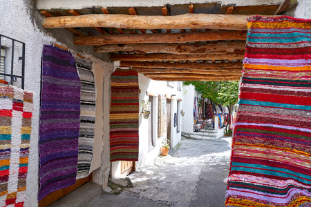 Alpujarras blankets rugs in Granada traditional colorful Serape Imagens