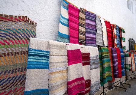 Alpujarras blankets rugs in Granada traditional colorful Serape Stock Photo