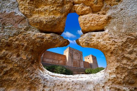 Alhambra window of Alcazaba Granada photo illustration Stock Photo