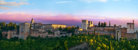 Alhambra sunset in Granada of Spain view from Albaicin Stock Photo