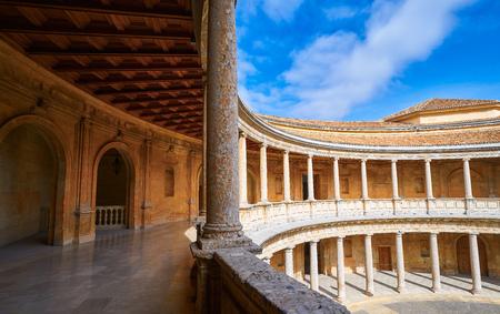 Patio de la Alhambra Carlos V en Granada de España Andalucía