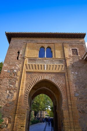 Alhambra arch Puerta del vino in Granada of Spain Wine muslim Door 免版税图像