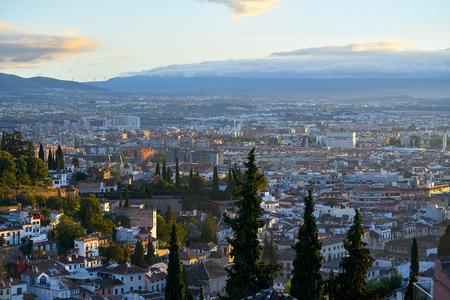 Granada skyline view from Albaicin in Andalusia Spain Stock Photo