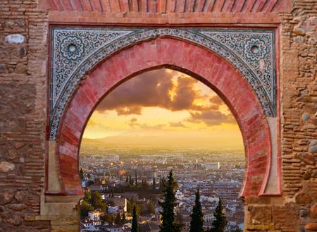 Alhambra arch illustration with Granada sunset skyline photo mount