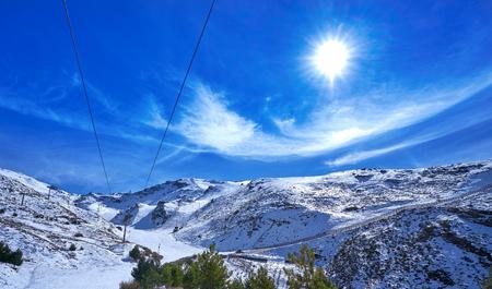 Sierra Nevada snow mountain ski resort in Granada of Spain