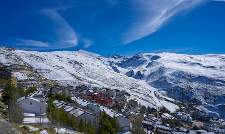 Sierra Nevada village and snow ski resort in Granada of Spain