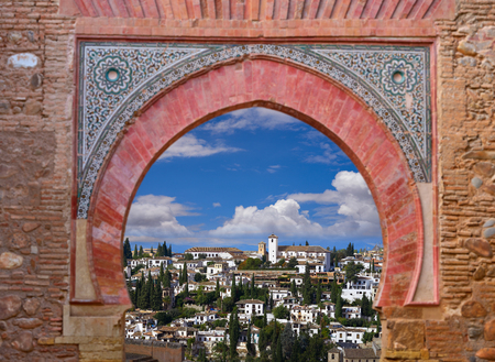 Alhambra arch Granada illustration with Albaicin barrio photo mount
