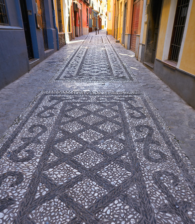 Granada stone mosaic floor Realejo district downtown in Spain at Andalusia