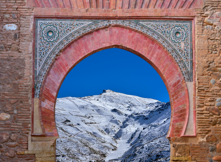 Alhambra arch Granada illustration with Sierra Nevada snow photo mount