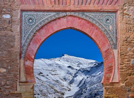 Alhambra arch Granada illustration with Sierra Nevada snow photo mount