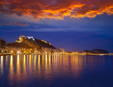 Alicante skyline at sunset from Postiguet beach in spain Фото со стока - 115781013