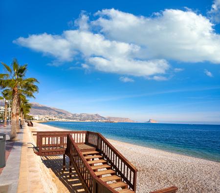 Altea Cap Blanc beach beside playa Albir of Alicante in Spain Costa Blanca Фото со стока - 115795004