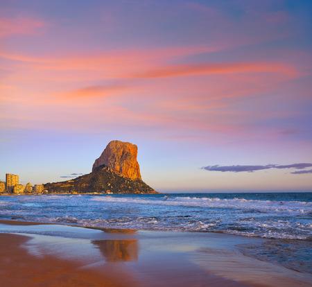 Arenal Bol beach in Calpe also Calp in Alicante of spain at Costa Blanca Arenal-Bol Ifach penon Фото со стока - 115795470