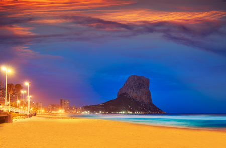 Arenal Bol beach in Calpe sunset also Calp in Alicante of spain at Costa Blanca Arenal-Bol Фото со стока - 115797222